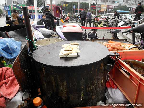 Street food stove in China