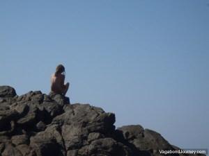 Tourist Sitting Rocks
