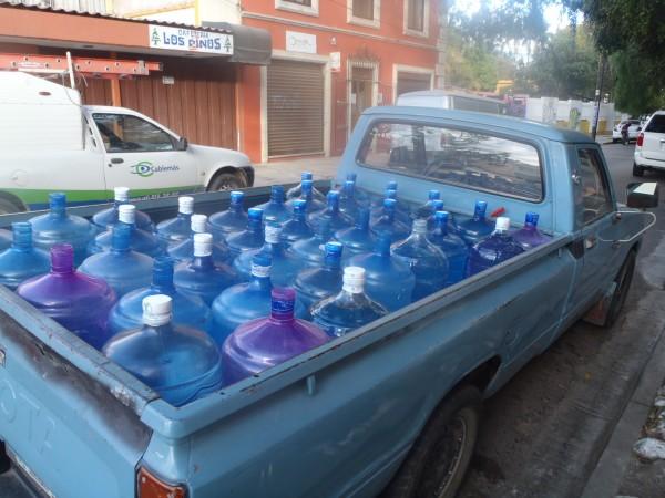 Bottled water truck in Oaxaca, Mexico