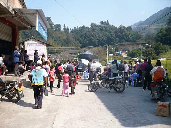 Protesters blocking road on Xiamen Island