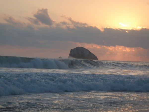 Zipolite beach waves at sunset