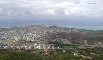 looking down at Kailua