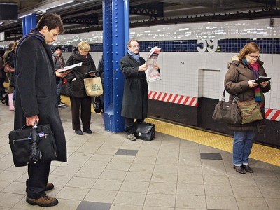Old School and New School Subway Reading