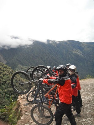 Riding the Deathroad in Boliva cc image by Wanderlass on Flickr