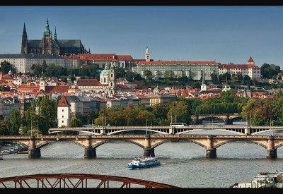 Prague Castle rises above the city and Vitava River, Prague, Czech Republic