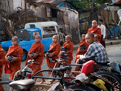 Many young boys serve time as monks from an early age in Myanmar