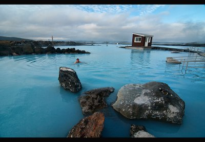 beautiful hot spring baths in Myvatn, Iceland