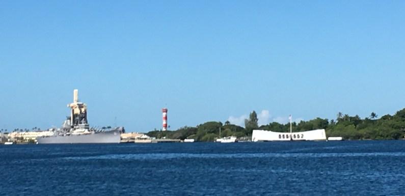 Pearl Harbor and the Arizona Memorial in Honolulu, Hawaii