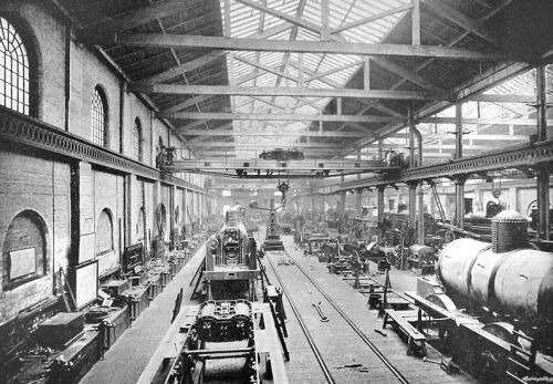 Crewe's railway works for the London and North West Railway Company c. 1890 By Anon. [Public domain], via Wikimedia Commons