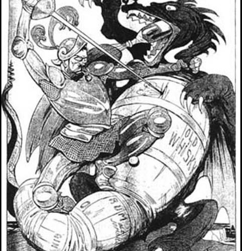 Cartoon against drink by Arthur Johnson in German-language publication Kladderadatsche (1914)
