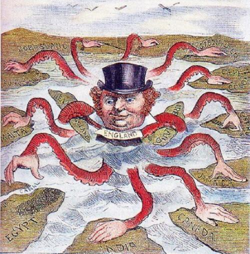 The English Octopus - an American cartoonist of 1888 depicts John Bull (England) as the octopus of imperialism, grabbing land on every continent - see page for author [Public domain], via Wikimedia Commons