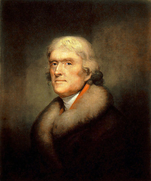 Reproduction of the 1805 Rembrandt Peale painting of Thomas Jefferson New York Historical Society