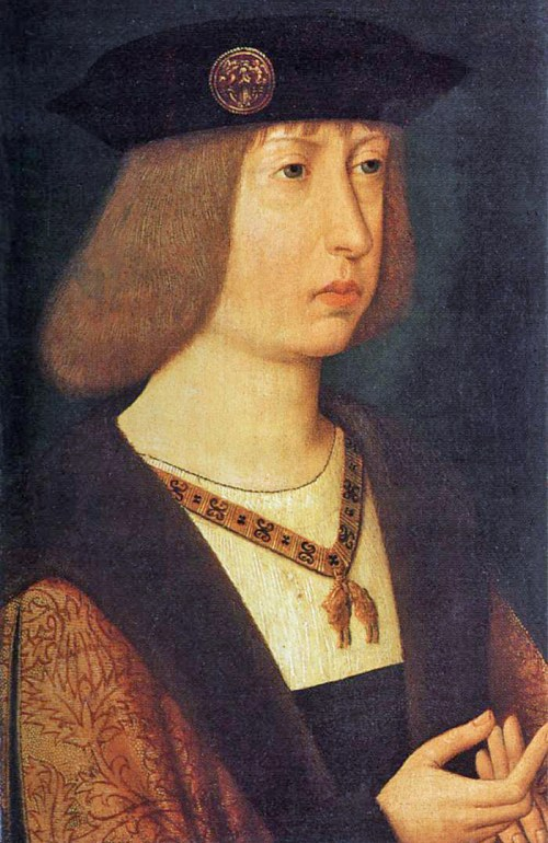 Philip the Handsome of Burgundy, King of Castile By Anonymous (Southern Netherlands)  Formerly attributed to Jacob van Lathem Formerly attributed to the Master of the Legend of Mary Magdalen (Web Gallery of Art:   Image  Info about artwork) [Public domain], via Wikimedia Commons