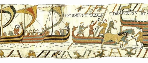 The Norman invasion of England depicted on the Bayeux Tapestry. Scene 39 By Image on web site of Ulrich Harsh. [Public domain], via Wikimedia Commons