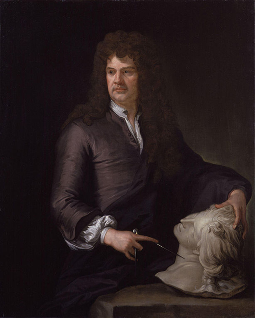 Grinling Gibbons by Sir Godfrey Kneller [Public domain], via Wikimedia Commons