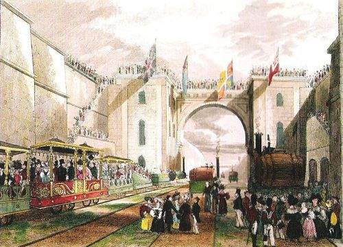 The Duke of Wellington's train being prepared for departure from Liverpool to Manchester, 15 September 1830