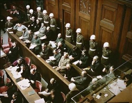 Defendants in the dock at nuremberg trials