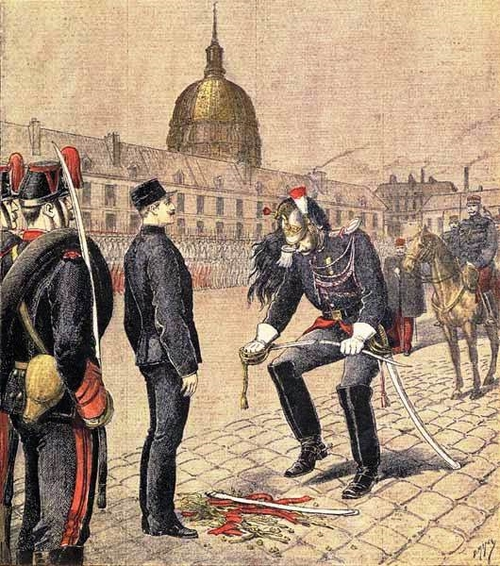 Cashiering of Alfred Dreyfus in the Morlan Court of the École Militaire in Paris by Henri Meyer [Public domain], via Wikimedia Commons