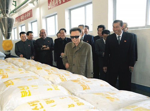 Kim Jung-il inspects bags of vinalon