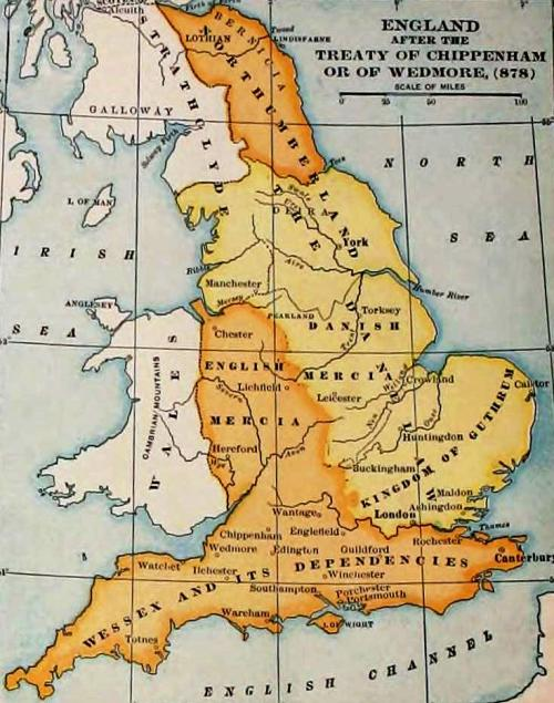 Map Of England King Alfred.Daneland Almost History