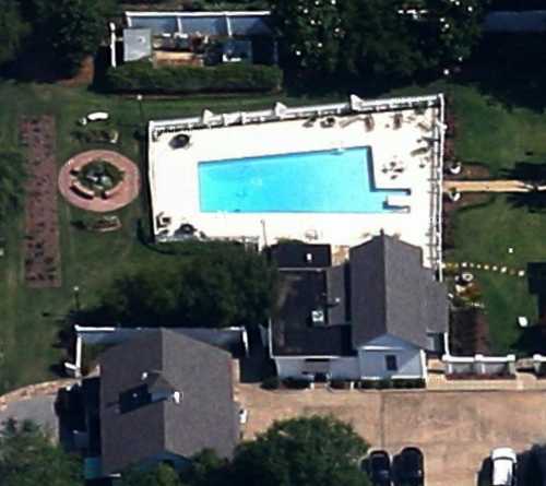 The Alabama shaped swimming pool in Alabama's Governor's Mansion