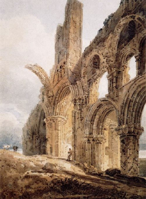 Ruins of Lindisfarne - painting by Thomas Girtin 1798 [Public Domain]