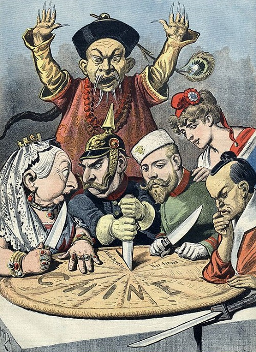 "China - the cake of kings and... of emperors"" (a French pun on king cake and kings and emperors wishing to ""consume"" China). French political cartoon from 1898. A pastry represents ""Chine"" (French for China) and is being divided between caricatures of Queen Victoria of the United Kingdom, William II of Germany (who is squabbling with Queen Victoria over a borderland piece, whilst thrusting a knife into the pie to signify aggressive German intentions), Nicholas II of Russia, who is eyeing a particular piece, the French Marianne (who is diplomatically shown as not participating in the carving, and is depicted as close to Nicholas II, as a reminder of the Franco-Russian Alliance), and a samurai representing Japan, carefully contemplating which pieces to take. A stereotypical Qing official throws up his hands to try and stop them, but is powerless. It is meant to be a figurative representation of the Imperialist tendencies of these nations towards China during the decade."
