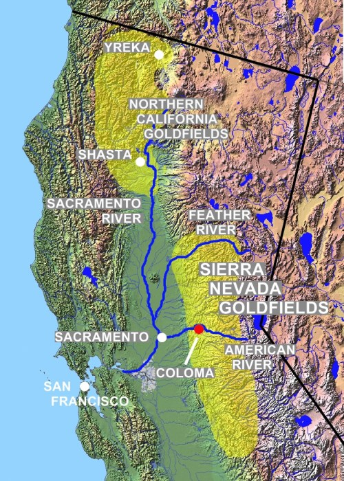 California Gold Rush map - showing the concentration of deposits in the north of the state