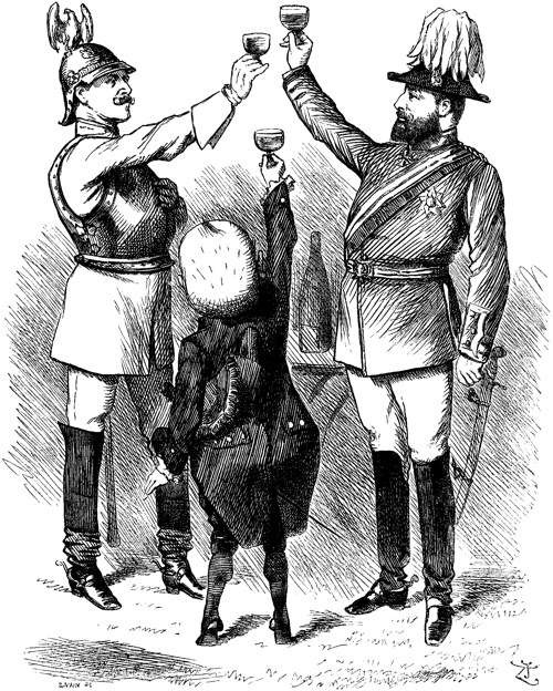 Cartoon showing the disparity between the Triple Alliance members - Italy strains to reach the heights of Germany and Austria-Hungary
