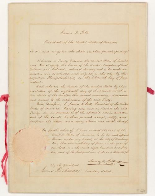 Oregon Treaty - This treaty divided the Oregon country between the United States and Canada at the 49th parallel. It granted to the United States land that would later comprise the entire states of Oregon, Washington, and Idaho, as well as portions of Montana and Wyoming. Pictured is the signature page and President Polk's proclamation announcing the treaty.
