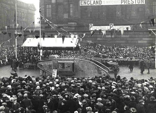 'Tank Week' in Preston was 21st to 28th January 1918 - The last week of WW1 The week was a war savings initiative using the tank Egbert to promote public investment in war loans.