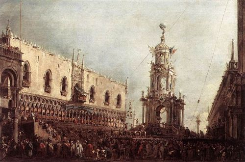 Francesco Guardi's Carnival Thursday on the Piazzetta (Venice) Francesco Guardi [Public domain], via Wikimedia Commons