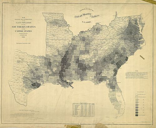 The Slave Populations of the US in 1860 By E. Hergesheimer (cartographer), Th. Leonhardt (engraver) [Public domain], via Wikimedia Commons