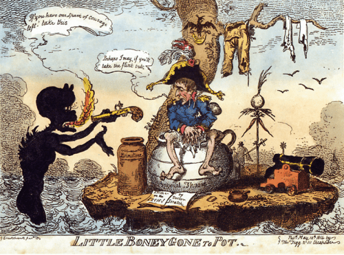 George Cruikshank's cartoon of Little Boney gone to Pot depicting Bonaparte on Elba
