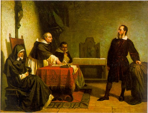 Galileo facing the Roman Inquisition, painting by Cristiano Banti 1857
