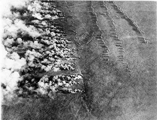 """This image shows a World War I German gas attack on the eastern front, and was photographed from the air by a Russian airman. The image was titled, """"German Frightfulness from the Air"""" Bundesarchiv, Bild 183-F0313-0208-007 / CC-BY-SA [CC-BY-SA-3.0-de (http://creativecommons.org/licenses/by-sa/3.0/de/deed.en)], via Wikimedia Commons"""