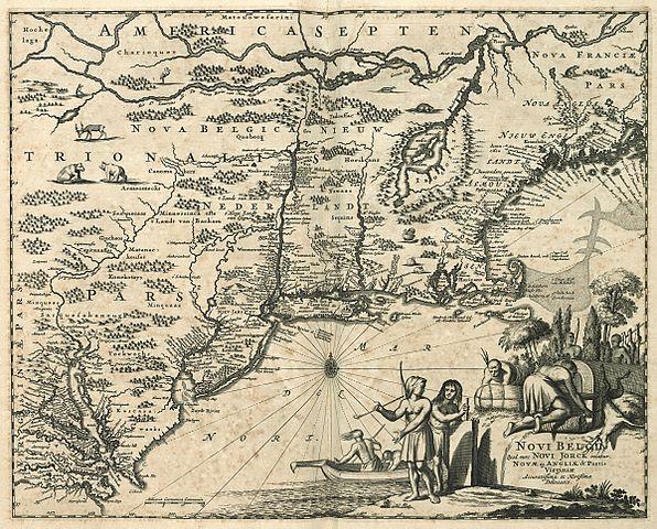 Map of the New Netherlands by Jacob van Meurs (land surveyor / mapmaker), Jacob van Meurs (publisher) (fl. 1638-1675) [Public domain], via Wikimedia Commons