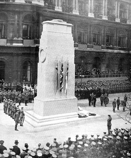Photograph of the unveiling of the Whitehall Cenotaph, 1920