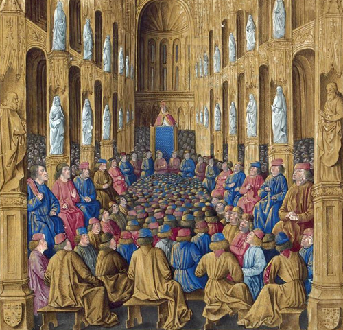 Pope Urban II preaching at the Council of Clermont. Sébastien Mamerot, Les passages d'outremer Jean Colombe [Public domain], via Wikimedia Commons