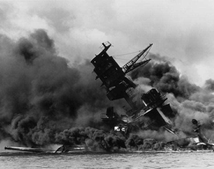 The USS Arizona in the aftermath of the Japanese attack on Pearl Harbour in 1941