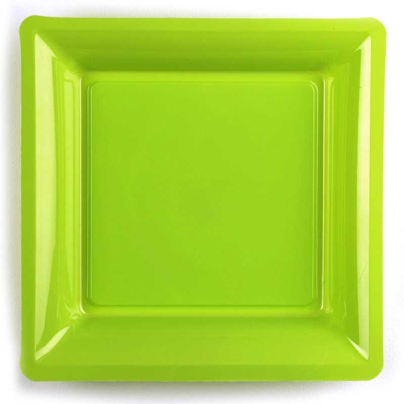 assiette carree vert anis recyclable reutilisable par 12