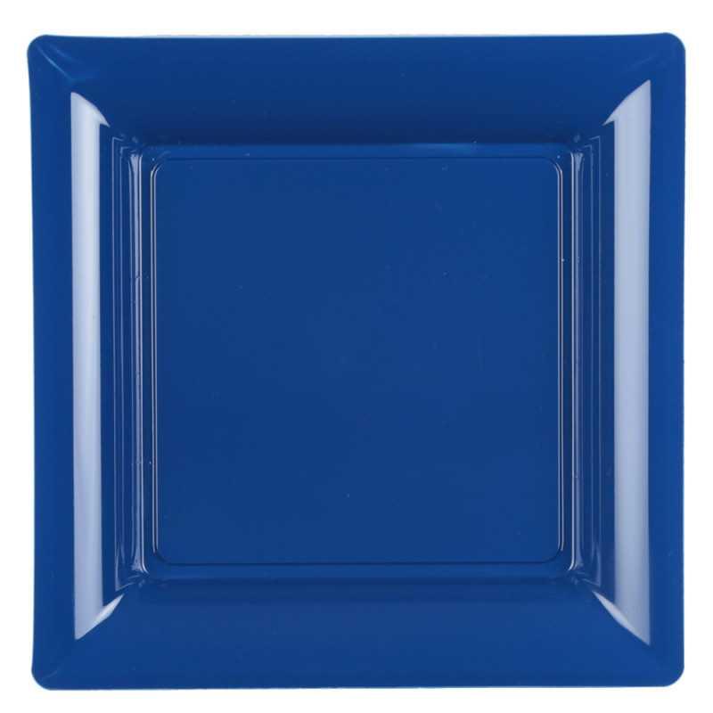 assiette carree bleu marine recyclable reutilisable par 12