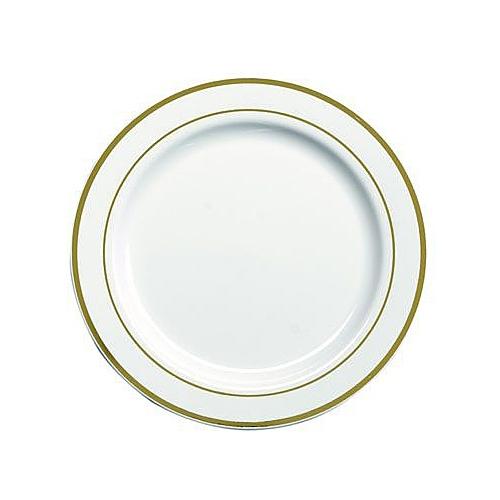 20 assiettes en plastique rigide blanc lisere or 23 cm