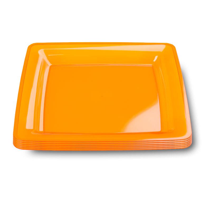 6 assiettes en plastique rigide carre orange 23 cm