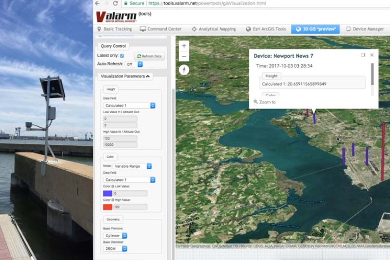 Valarm a k a  Tools Valarm net Monitors Industrial IoT Applications     1 example is for our customers with flood warning systems monitoring water  levels  a common scenario is to measure water levels with a sensor reading  every