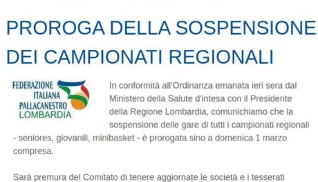 PROROGA DELLA SOSPENSIONE DEI CAMPIONATI REGIONALI