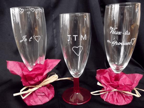 gravure amour saint valentin sur flûtes