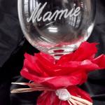 verre à vin gravé avec prénom personnalisable