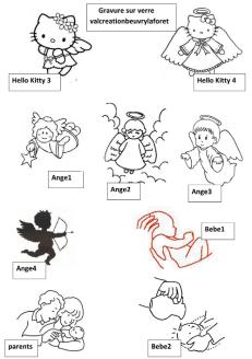 motifs gravure sur verre ange bébé baptème ,valcreationbeuvrylaforet