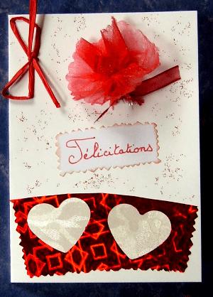 carte félicitation mariage rouge et blanc
